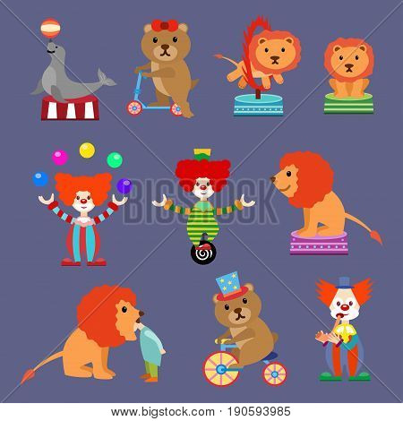 Flat Set of Circus animals and clowns.