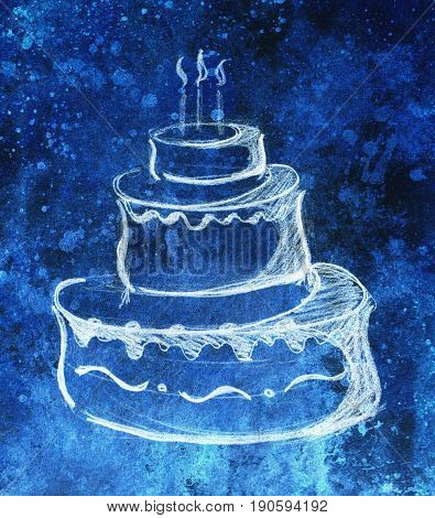 Big torte on paper background and color effect. hand drawn picture sketch