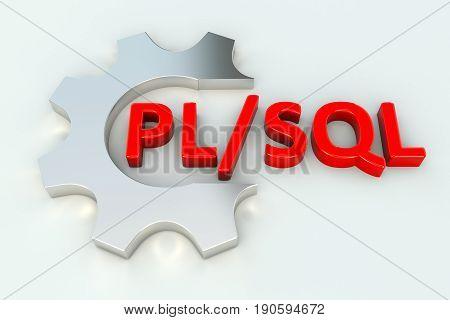 PL SQL gear wheal white background 3d illustration