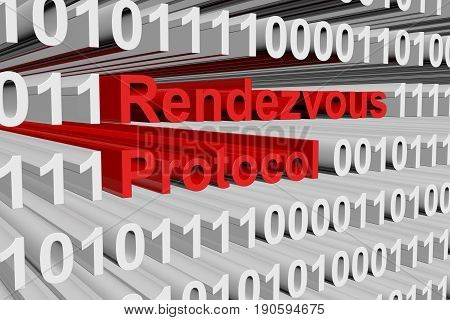 Rendezvous protocol in the form of binary code, 3D illustration