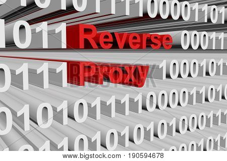 Reverse proxy in the form of binary code, 3D illustration
