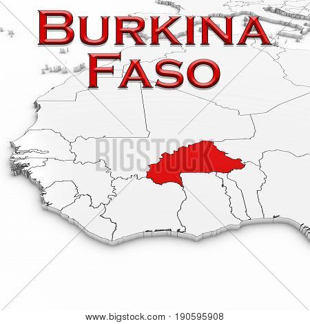 3D Map Of Burkina Faso With Country Name Highlighted Red On White Background 3D Illustration