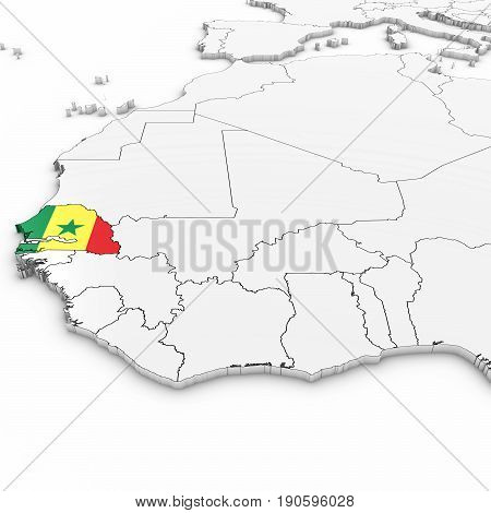 3D Map Of Senegal With Senegalese Flag On White Background 3D Illustration