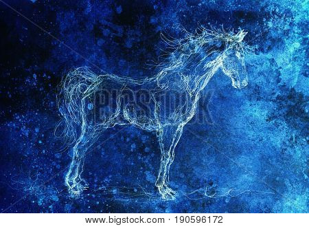 Drawing horse on old paper, original hand draw. Color effect