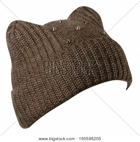 Women's Hat . Knitted Hat Isolated On White Background . Brown Hat