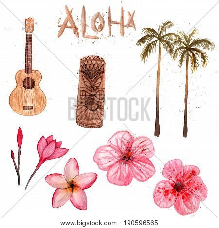 Watercolor Hawaii set isolated on white background. Ukulele tiki palm flowers