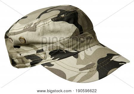 Hat Isolated On White Background. Hat With  Visor.military Hat