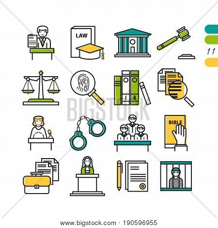 Vector set of linear colored judiciary icons, court, attorney, jury and documentation. Set of symbols number eleven