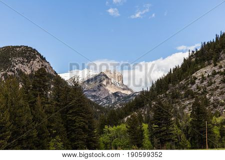 Rocky peaks and forest trees in the Lewis & Clark Wilderness of Montana USA.