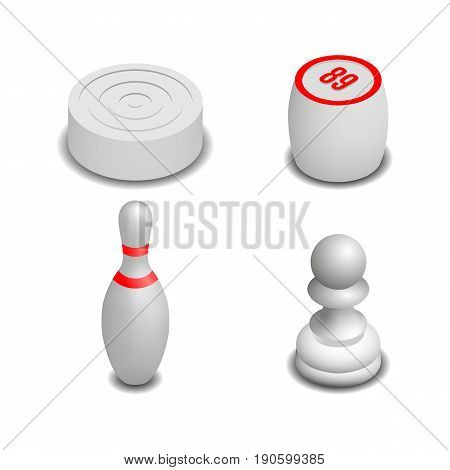 Realistic 3D isometric game icons. Items to play bowling chess checkers and lotto. Isolated on white background vector illustration.