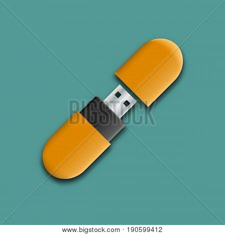 Photo realistic mock-up flash drive. Template for branding and corporate identity. Design elements of digital storages and devices vector illustration.