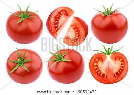 Tomatoes isolated. Fresh cut tomato isolated on white background. Collection
