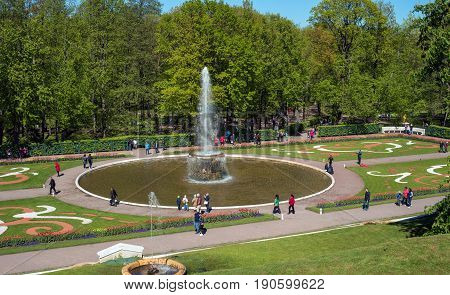 Petergof, Russia - June 5, 2017: Fountain in the lower park of the Peterhof's palace complex. The park area of 112, 5 hectares is decorated with about 150 fountains.
