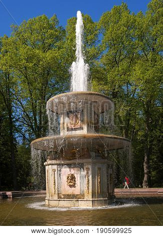 Roman fountain. This is one of two symmetrical fountains. By composition, they resemble stone water cannons in the square in front of St. Peter's in Rome. Petergof, Russia.