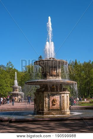 Petergof, Russia - June 5, 2017: Roman fountains. By composition, they resemble stone water cannons in the square in front of St. Peter's in Rome. Located in front of the cascade -Chess Mountain-.