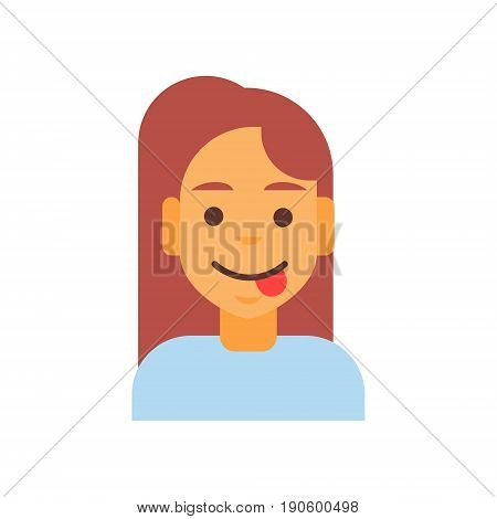Profile Icon Female Emotion Avatar, Woman Cartoon Portrait Happy Smiling Face Showing Tongue Vector Illustration