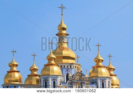 KIEV, UKRAINE - MAY 2, 2011: These are gilded domes of the Mikhailovsky Monastery in the center of the Ukrainian capital.