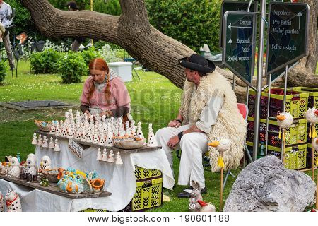 Piestany, Slovakia – May 20 2017: An Unidentified Man And Woman, Dressed In Traditional Shepherd Cos