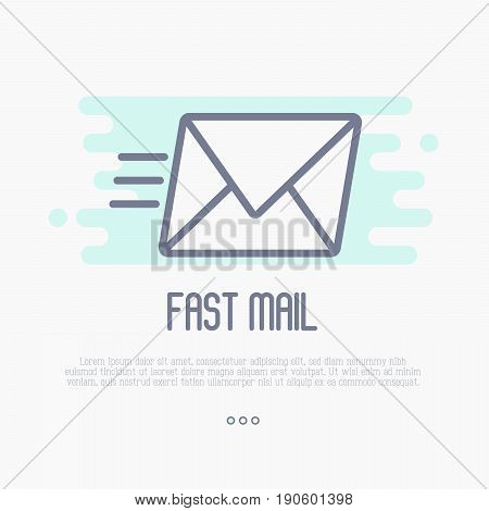 Fast mail or e-mail symbol. Envelope flying thin line vector illustration.