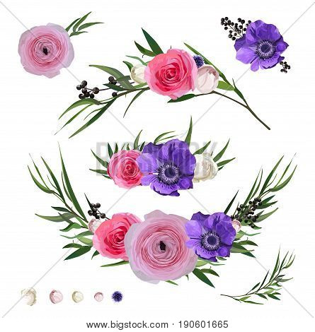 Ranunculus flower Rose Anemone Privet berry Eucalyptus branches Thistle flowers and decorative plants big vector collection. Isolated elements set on white background. Watercolor garden beautiful set
