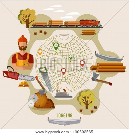Logging industry concept. Woodcutter deforestation preparation of firewood power-saw bench transportation of logs by train. Logging industry vector