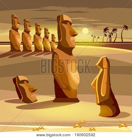 Moai statues of Easter island landscape Polynesia. Stone idols. Tourism and vacation tropical Easter island background