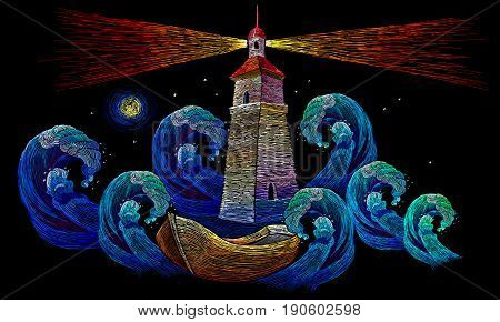 Embroidery lighthouse boat sea waves. Classical embroidery impressionism style lighthouse and storm in ocean fashion background. Template for clothes textiles t-shirt design