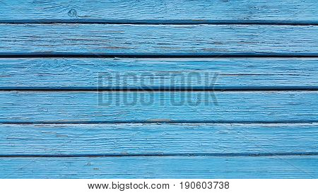 Texture Of Old Wooden Blue Fence