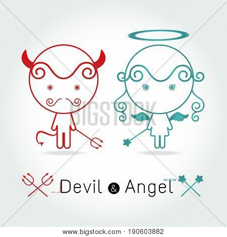 The red devil and cute angel vector illustration