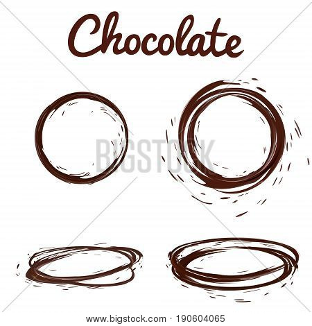 Chocolate splashes set. Brown hot coffee or chocolate round circle splashes with drops and bolts set isolated on white background, vector 3d illustration.