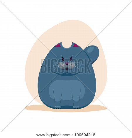 Vector illustration of cute surprised fatty smokey blue cat