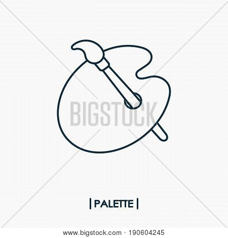 Paintbrush with palette outline icon isolated .