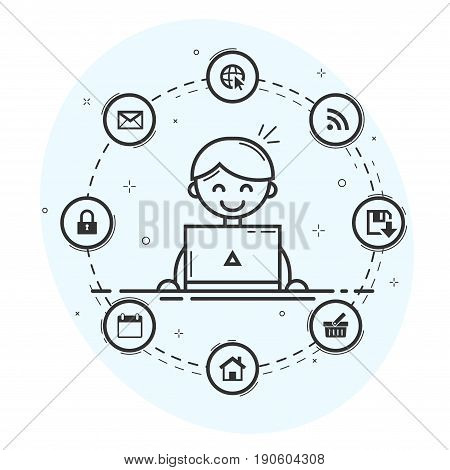 Computer user with laptop and icons in circle