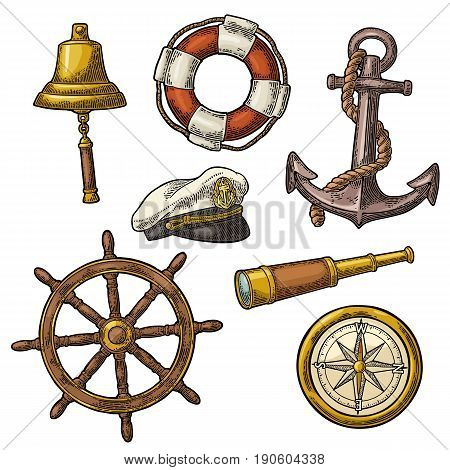 Set sea adventure. Anchor, wheel, compass rose, spyglass, bell, lifebuoy, lighthouse isolated on white background. Vector color vintage engraving illustration. For poster yacht club.