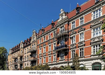 Ancient tenements in Gliwice, Silesia region, Poland.