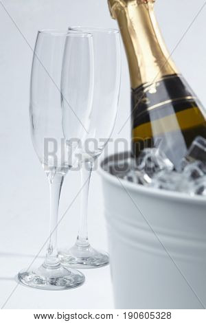 Champagne bottle in a bucket