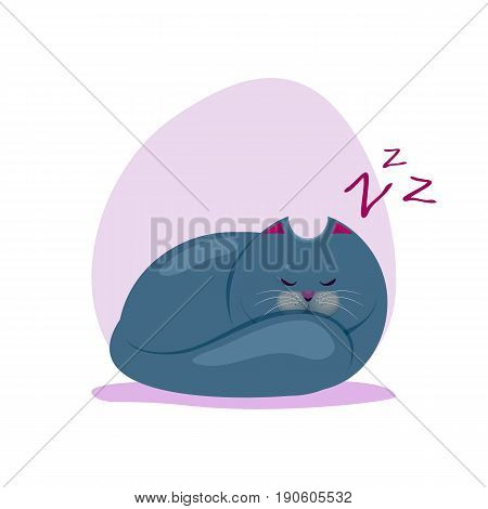 Vector illustration of cute sleeping fatty smokey blue cat