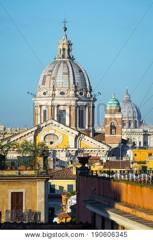 San Carlo al Corso and Saint Peter's domes from piazza di Spagna in Rome, autumn Italy