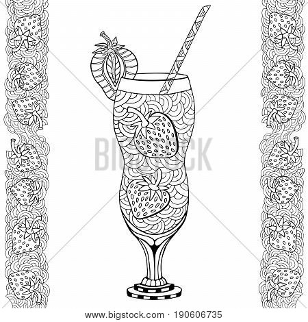 Strawberry milkshake. Doodle and zentangle style. Hand drawn coloring book. Vector illustration.