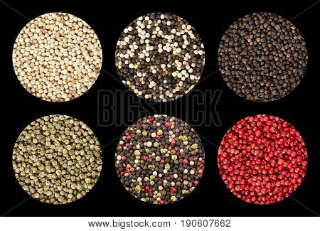 Six variations of peppercorns in circles over black background. Black, white, green and pink pepper. Dried berries of Piper nigrum and Schinus terebinthifolia used as spice and seasoning. Food photo.