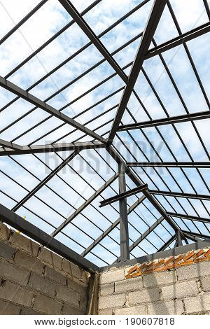 Steel structure of roof during construction process