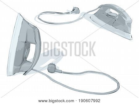 Two irons isolated on a white background