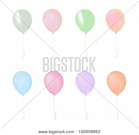 Isolated Colorful Pastel Gathering Event Air Balloon