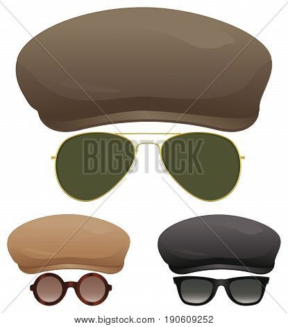 A group of flat caps and various sun glasses.