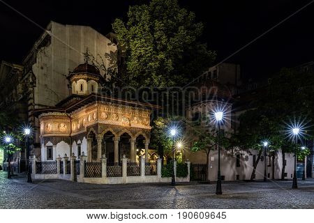 BUCHAREST, ROMANIA - MAY 15, 2017: Stavropoleos Monastery built in 1724 in Brancovenesc architectural style, an Eastern Orthodox monastery for nuns, dedicated to St. Archangels Michael and Gabriel.