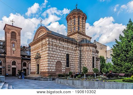 BUCHAREST, ROMANIA - MAY 13, 2017: Annunciation Church of Saint Anthony considered Bucharest's oldest church. Founded by Mircea Ciobanul the Prince of Wallachia in 1559.