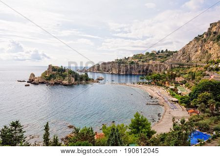 The picturesque Isola Bella Beach in autumn after the main tourist season - Taormina Sicily Italy