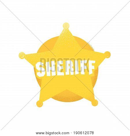 Cartoon style grunge american western sheriff badge isolated vector illustration