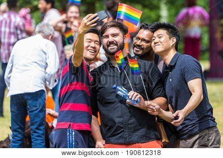 The Hague the Netherlands - June 10 2017: participants of Pride Walk The Hague taking selfie