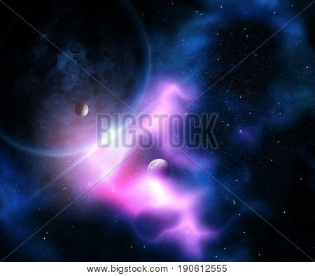 3D render of an abstract fictional space scene